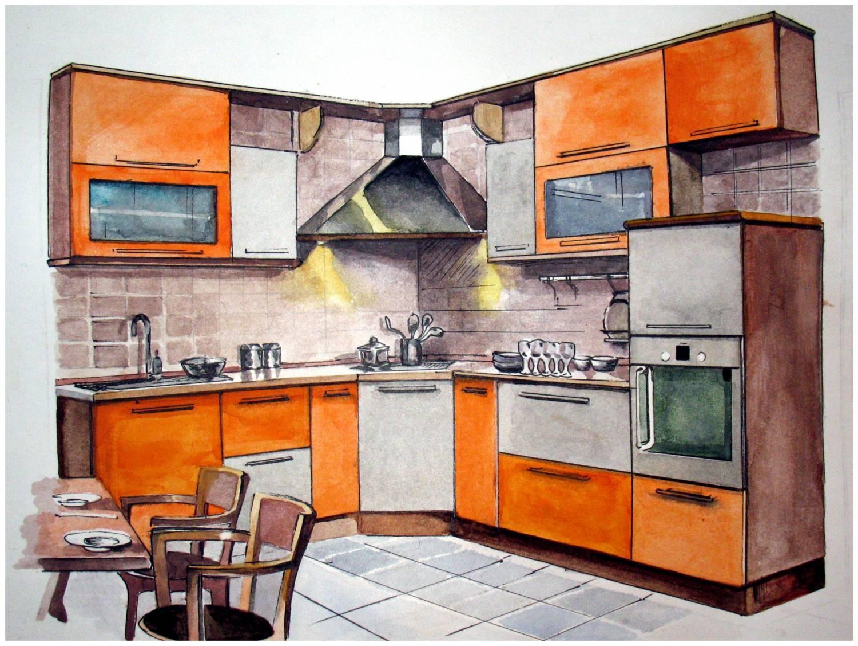 Интерьер кухни карандашом фото